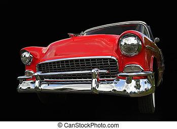 piros, öreg, chevy, autó