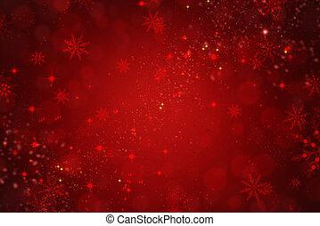piros, ünnep, karácsony, háttér, noha, hópihe, és, csillaggal díszít