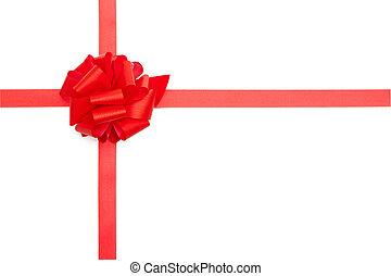 piros, ajándék, szalag, íj