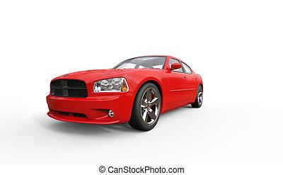 piros, amerikai, autó, eleje kilátás