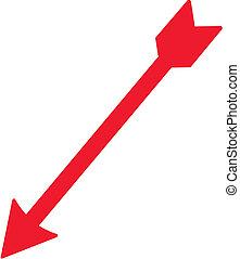 piros, arrow., vektor