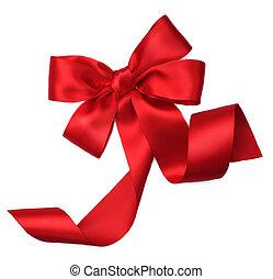 piros, atlaszselyem, tehetség, bow., ribbon., elszigetelt, white
