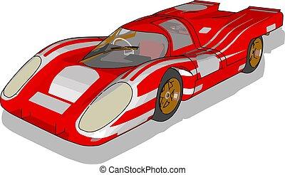 piros autó, ábra, fehér, vektor, háttér., versenyzés