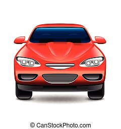 piros autó, eleje kilátás, elszigetelt, white, vektor