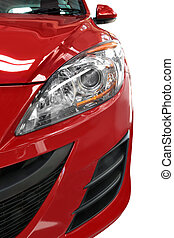 piros autó, részletez, fél, elülső