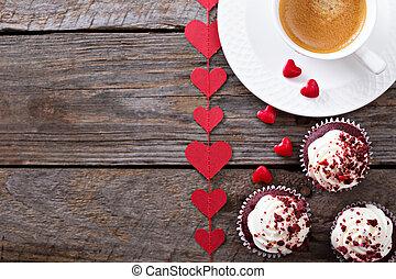 piros, bársony, cupcakes, helyett, valentines nap