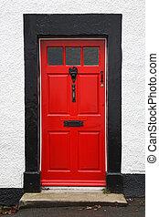 piros, bejárati ajtó