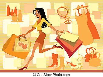 piros, bevásárlás