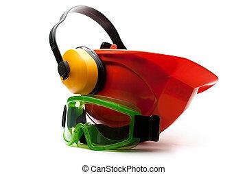 piros, biztonság sisak, noha, fülhallgató, és, védőszemüveg