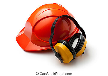 piros, biztonság sisak, noha, fülhallgató