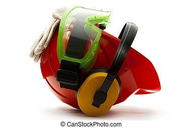 piros, biztonság sisak, noha, fülhallgató, védőszemüveg, és, pár kesztyű