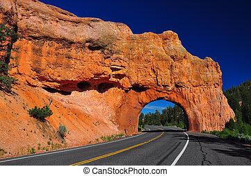piros, bolthajtás, út alagút, -ban, bryce kanyon