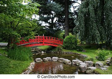 piros, bridzs, alatt, egy, japanese kert