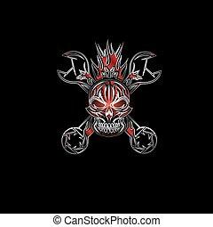 piros, címer, koponya, csavarkulcs, silverand