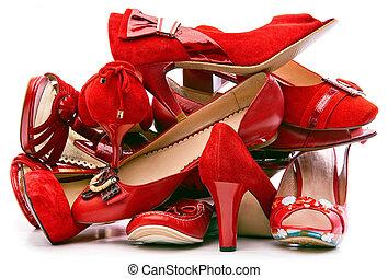 piros, cölöp, cipők, női, elszigetelt