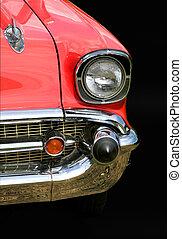 piros, chevy, autó