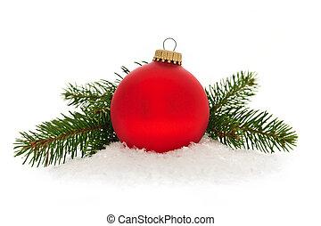 piros, christmas bauble