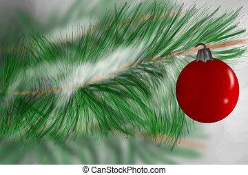 piros, christmas díszít, függő, alatt, örökzöld fa