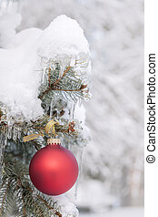 piros, christmas díszít, képben látható, havas, fa