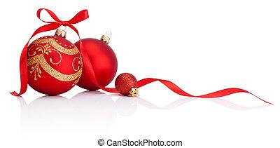 piros, christmas dekoráció, apróságok, noha, szalag, íj, elszigetelt, white, háttér