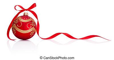 piros, christmas dekoráció, csecsebecse, noha, szalag, íj, elszigetelt, white, háttér