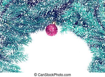 piros, christmas labda, képben látható, fenyő, elágazik, elszigetelt, white, háttér., karácsony, határ, kártya