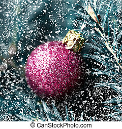 piros, christmas labda, képben látható, fenyő, elágazik, noha, snowflakes., karácsony, határ, kártya