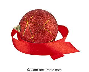 piros, christmas labda, noha, szalag