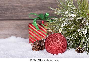 piros, christmas labda