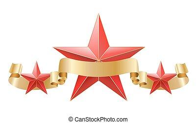 piros csillag, noha, arany-, szalag, composition., vektor