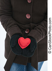 piros, dekoratív, szív, valentines nap