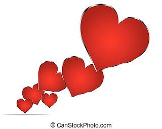 piros, dolgozat, Nap, kártya,  valentines