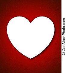 piros, dolgozat, valentine's nap kártya, noha, nagy, fehér, szív