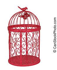 piros, fém, birdcage