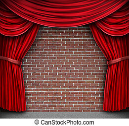 piros függöny, képben látható, egy, téglafal