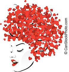 piros, frizura