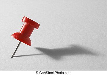 piros, gombostű, alatt, kártya