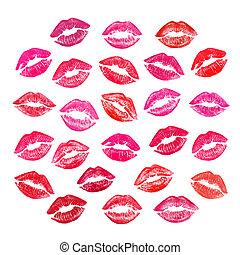 piros, gyönyörű, ajkak