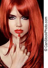 piros, hair., gyönyörű, szexi, girl., egészséges, hosszú, hair., szépség, formál, woman., lips., fényesít, nail., frizura