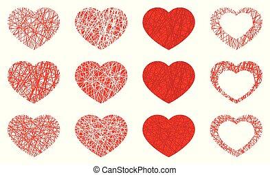 piros, ikon, gyűjtés, szív, állhatatos, elszigetelt, szeret, jelkép, fehér, háttér.
