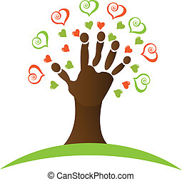 piros, kéz, mindenfelé, fa