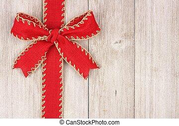 piros, karácsony, íj, és, szalag, lejtő, határ, képben látható, öreg, fehér, erdő