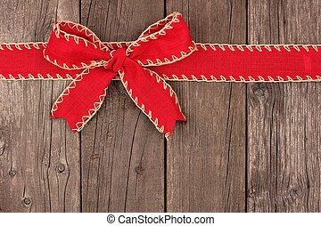 piros, karácsony, íj, és, szalag, tető, határ, képben látható, öreg, erdő