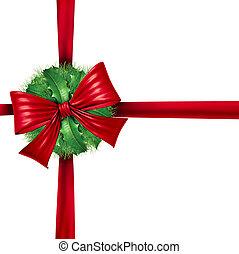 piros, karácsony, göngyöleg, szalag, dekoráció