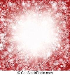 piros, karácsony, hópehely, háttér