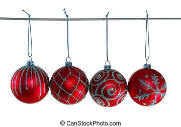 piros, karácsony, herék