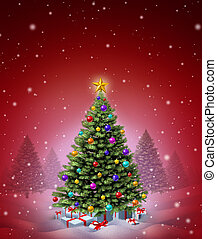 piros, karácsony, tél fa