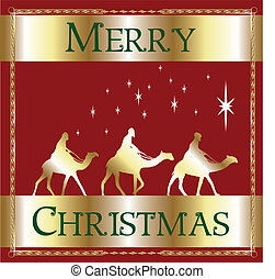 piros, karácsony, vidám, wisemen