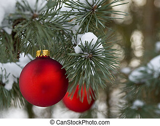piros, karácsonyi díszek, alatt, havas, fenyőfa