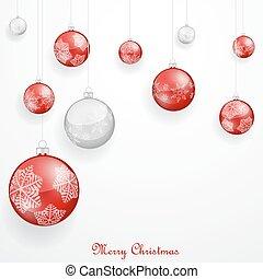 piros, karácsonyi díszek